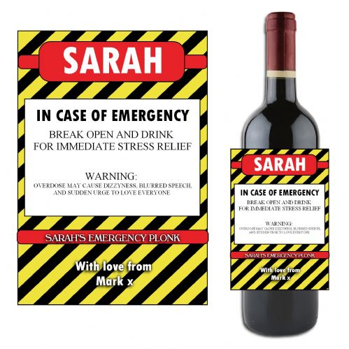 Personalised Emergency Happy Birthday Wine / Champagne Bottle Label N85